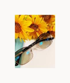 Okulary iżółte kwiaty